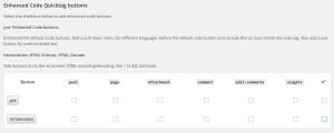 AddQuicktag設定画面を下の方にスクロールしたところ「Enhanced Code Quicktag buttons」