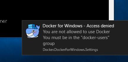 Docker for Windows Access Denied