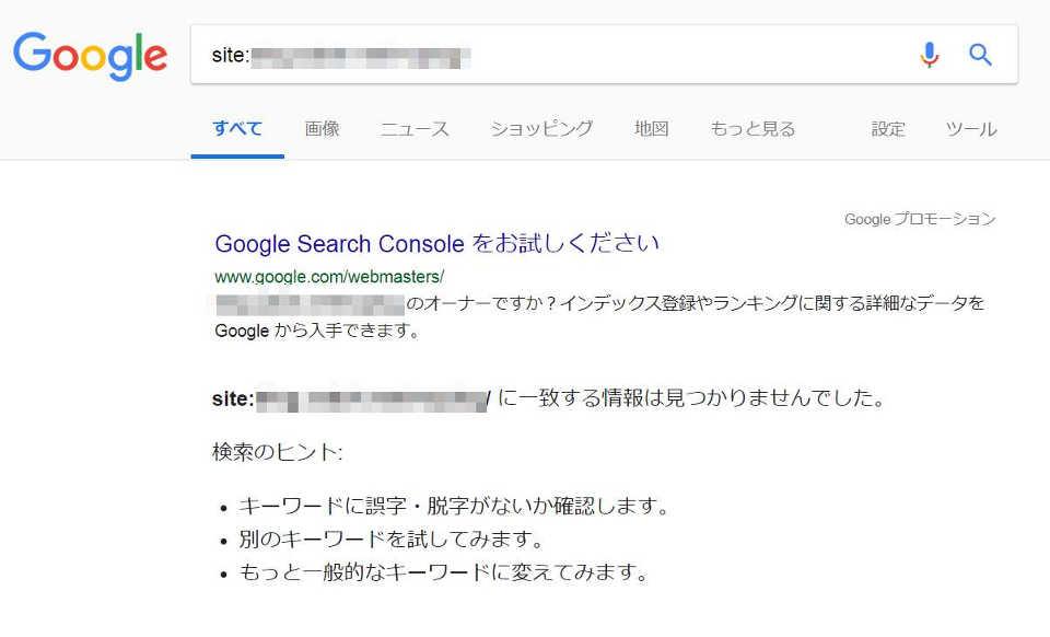 Googleインデックスされていない状態の画面