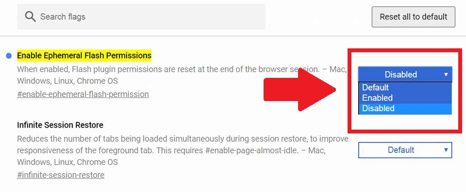 Enable Ephemeral Flash Permissions When enabled, Flash plugin permissions are reset at the end of the browser session. – Mac, Windows, Linux, Chrome OS
